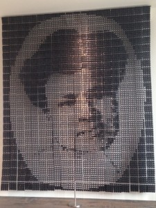Created from 3,840 black plastic combs